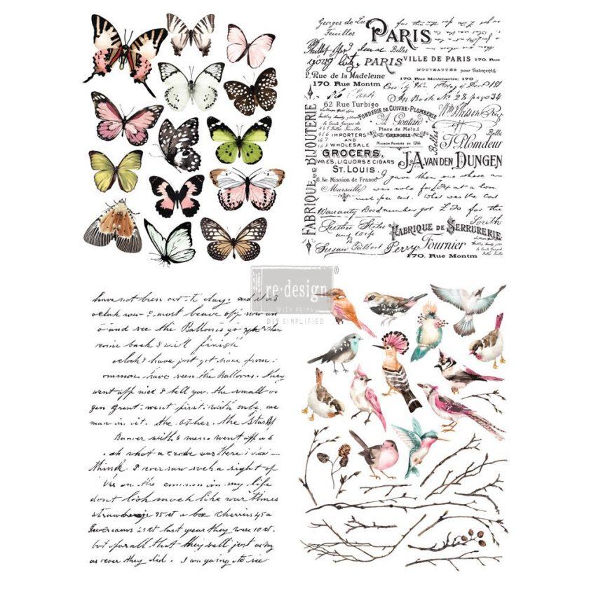 "Redesign Décor Transfers® - Parisian Butterflies 11""x15"" each design, total design 22""x30"""