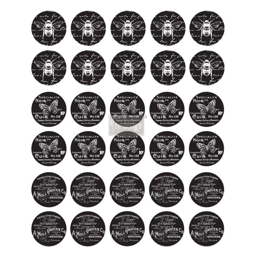 "Redesign Knob Transfer - French Noir 8.5""X10.5"" Sheet size"