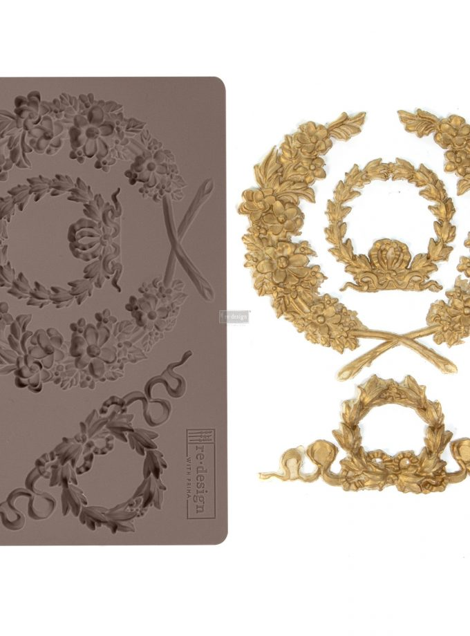 "Redesign Décor Moulds® -Laurel Wreath 5""x 8"" 8 mm thickness"