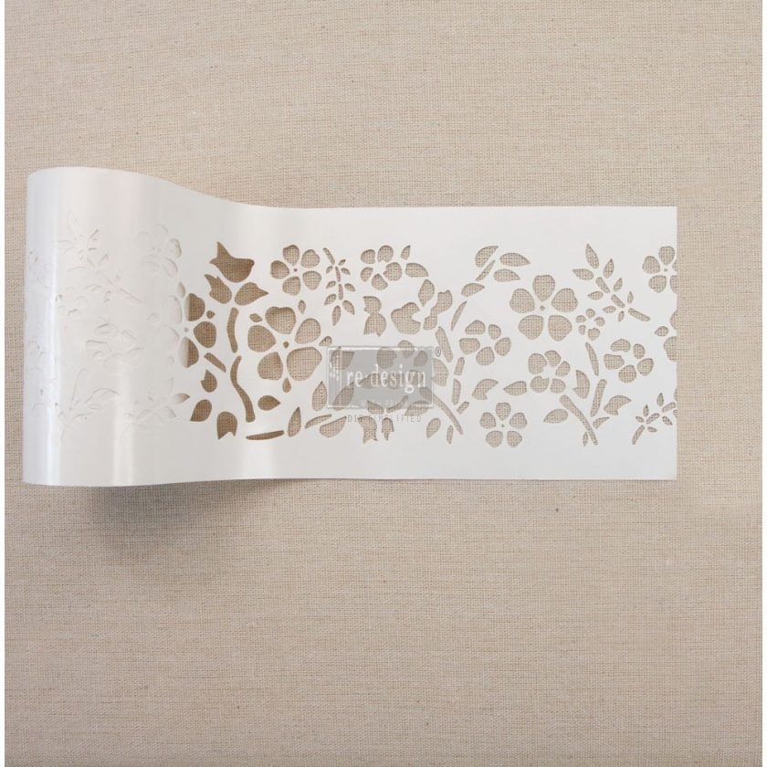 "Redesign Stick & Style Stencil Roll 4"" roll 15 yards- Royal Ann Garden"