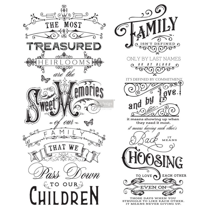 """Redesign Decor Transfers® - Family Heirlooms - 2 sheets, design size 22"""" X 27"""""""
