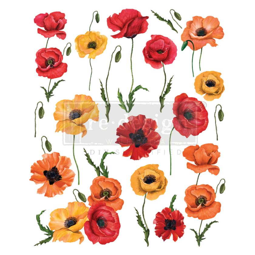 "Redesign Decor Transfers® - Poppy Gardens design size 24"" x 30"""