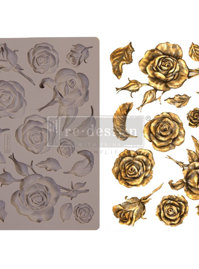 """Redesign Decor Moulds® - Fragrant Roses - 5"""" x 8"""", 8mm thickness"""