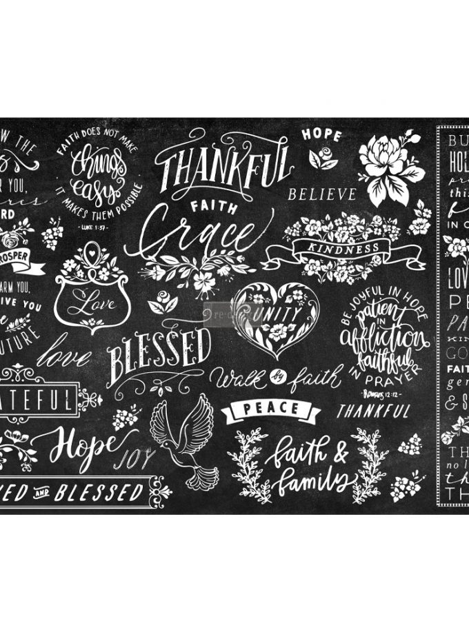 "Découpage Décor Tissue Paper - Thankful & Blessed II - 2 sheets (19"" x 30"")"