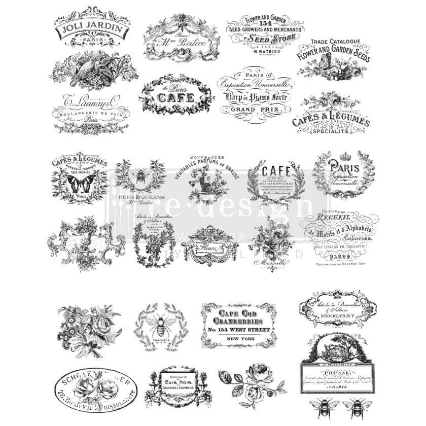 "Redesign Decor Transfers® - Classic Vintage Labels design size 24"" x 30"""