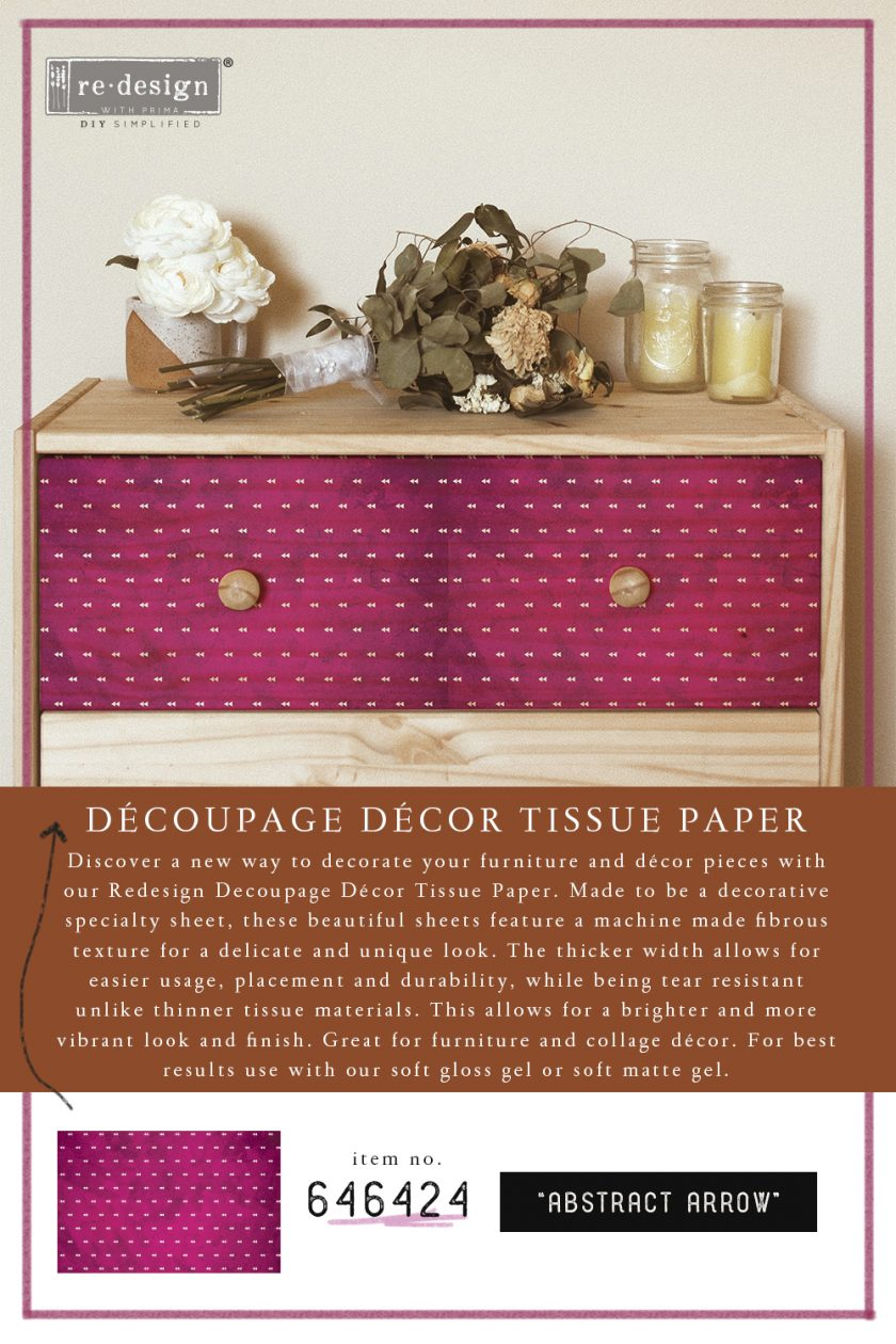 "Découpage Décor Tissue Paper - Abstract Arrow - 2 sheets (19"" x 30"")"