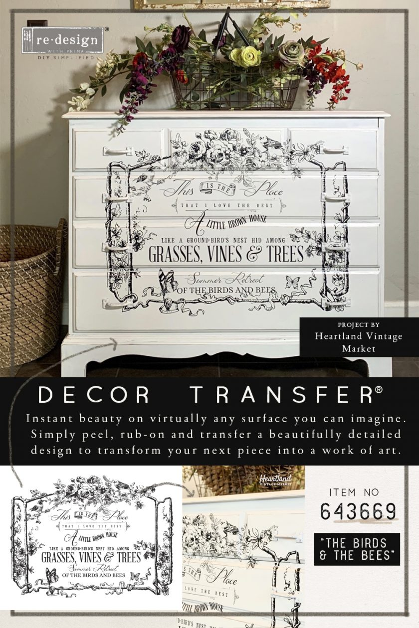 "Redesign Decor Transfers® - The Birds & The Bees - 3 sheets, design size 22"" X 32"""