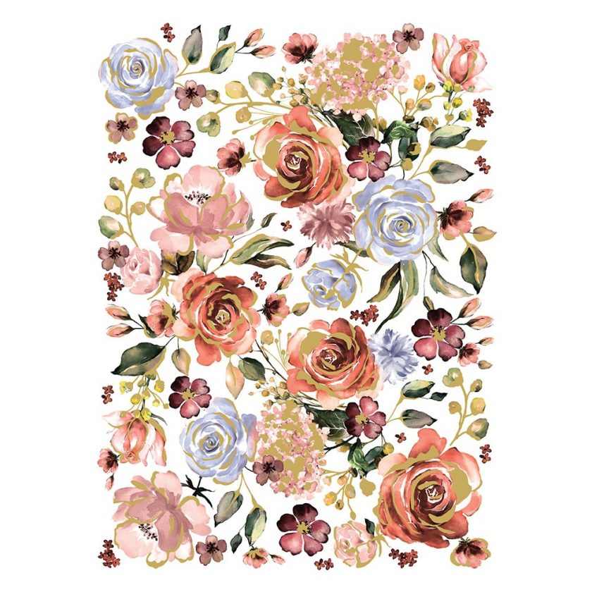 "Redesign Decor Transfers® - Rose & Rouge - total sheet size 24""x35"", cut into 3 sheets"