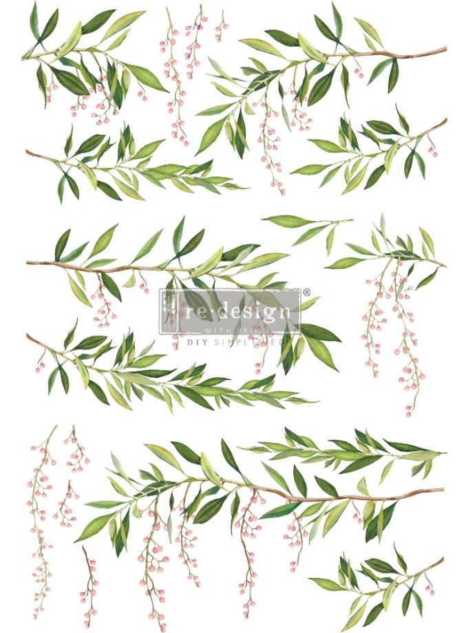"Redesign Decor Transfers® - Spring Branch - total sheet size 24""x35"", cut into 3 sheets"