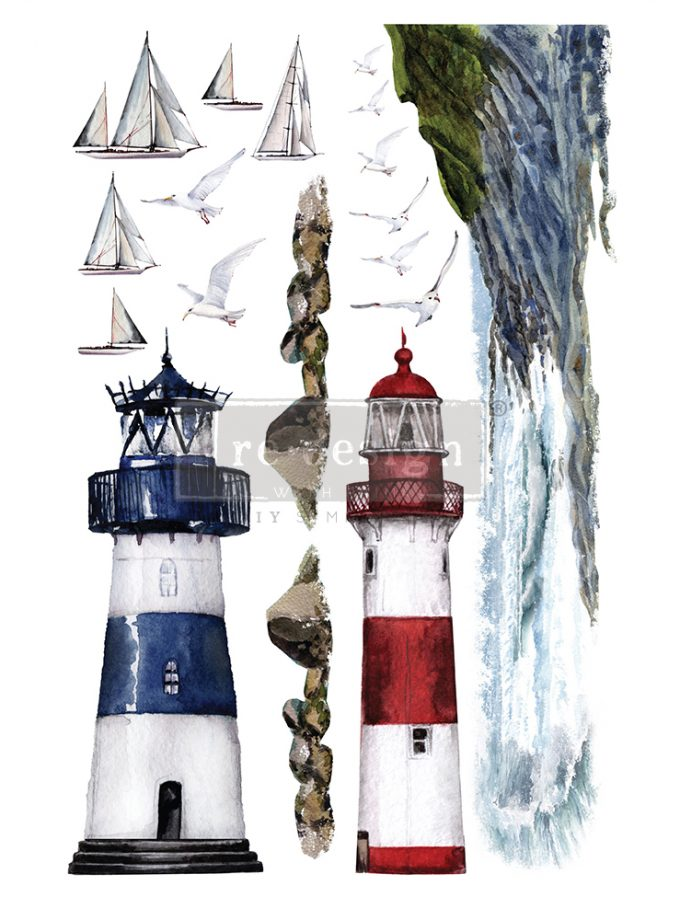 """Redesign Decor Transfers® - Lighthouse - total sheet size 24""""x35"""", cut into 2 sheets"""