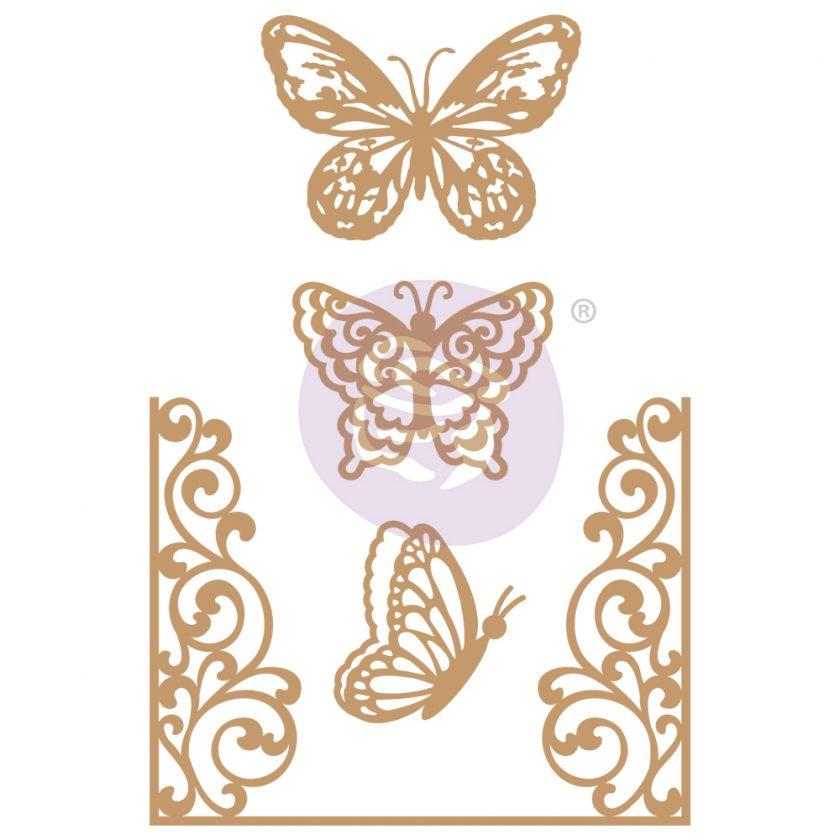 Chipboard Diecut - Butterfly Flight - 4 pcs, 1.8-4.6