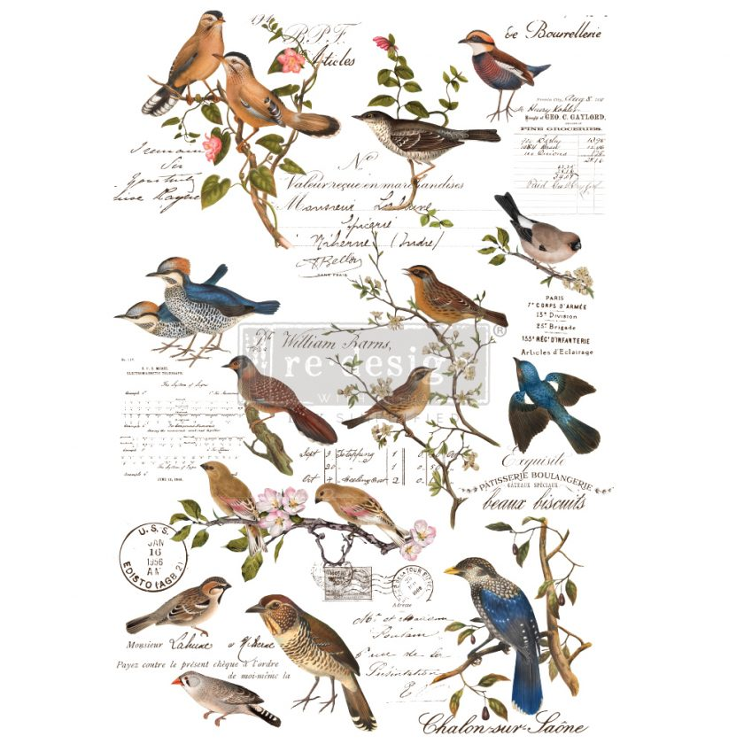"Redesign Decor Transfers® - Postal Birds - total sheet size 24""x35"", cut into 3 sheets"