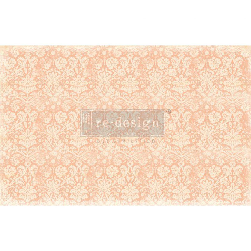 "Redesign Decoupage Décor Tissue Paper - Peach Damask - 2 sheets (19"" x 30"")"
