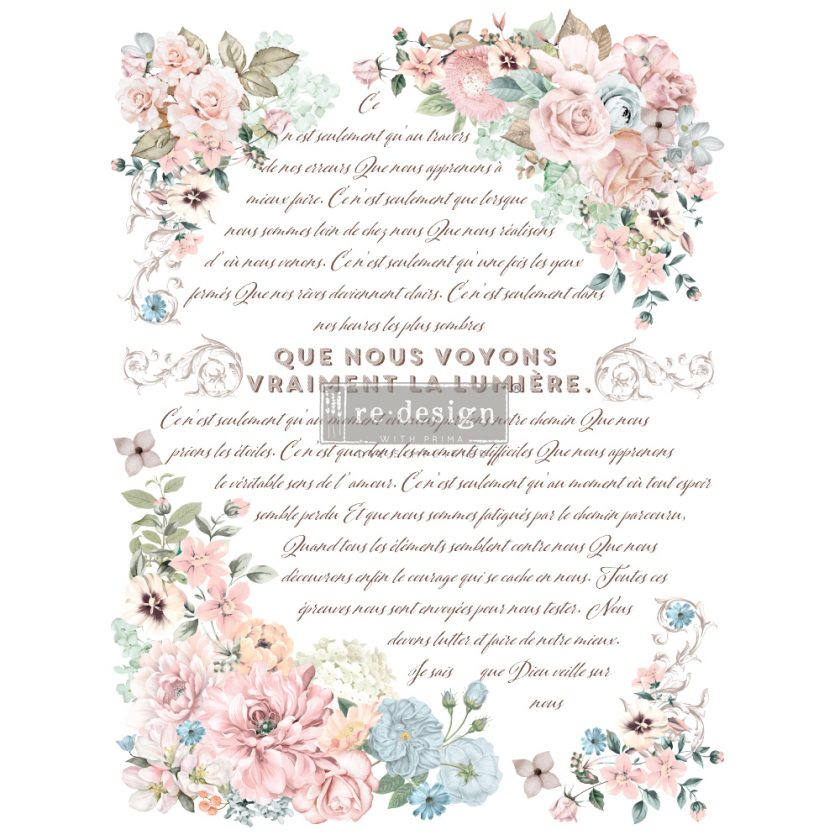 "Redesign Decor Transfers® - Pure Light Floral - total sheet size 24""x35"", cut into 3 sheets"