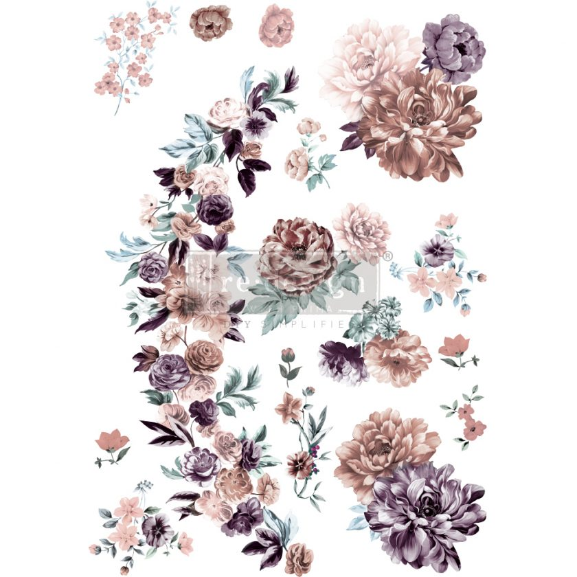 """Redesign Decor Transfers® - Burgundy Rose Garden - total sheet size 24""""x35"""", cut into 3 sheets"""
