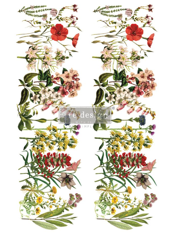 "Redesign Decor Transfers® - The Flower Fields - total sheet size 24""x35"", cut into 2 sheets"