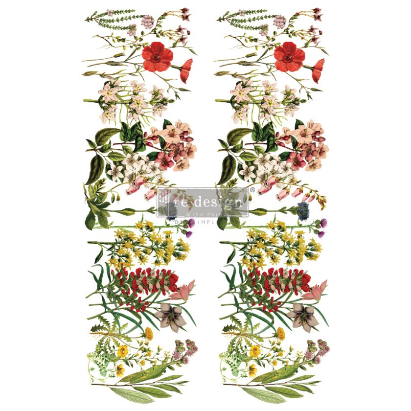 """Redesign Decor Transfers® - The Flower Fields - total sheet size 24""""x35"""", cut into 2 sheets"""