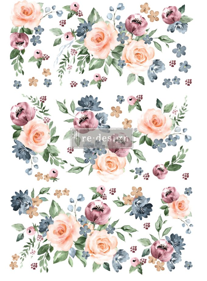 "Redesign Decor Transfers® - Watercolor Bloom - total sheet size 24""x35"", cut into 3 sheets"