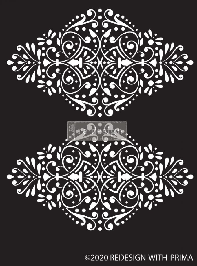 "Redesign Decor Stencils®  -Dotted Flourish - 9""x13.5""  0.8mm thickness"
