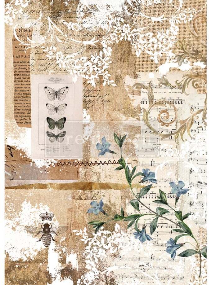 "Redesign Decor Rice Paper - Botanical sonata - 11.5"" x 16.25"""