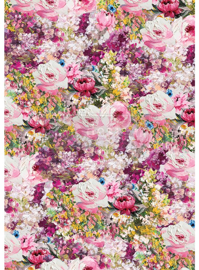 "Redesign Decor Rice Paper - Fuchsia meadow - 11.5"" x 16.25"""