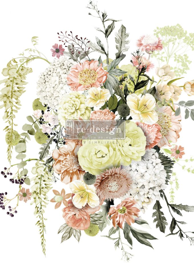 "Redesign Decor Transfers® - Life In Full Bloom - total sheet size 24""x35"", cut into 3 sheets"