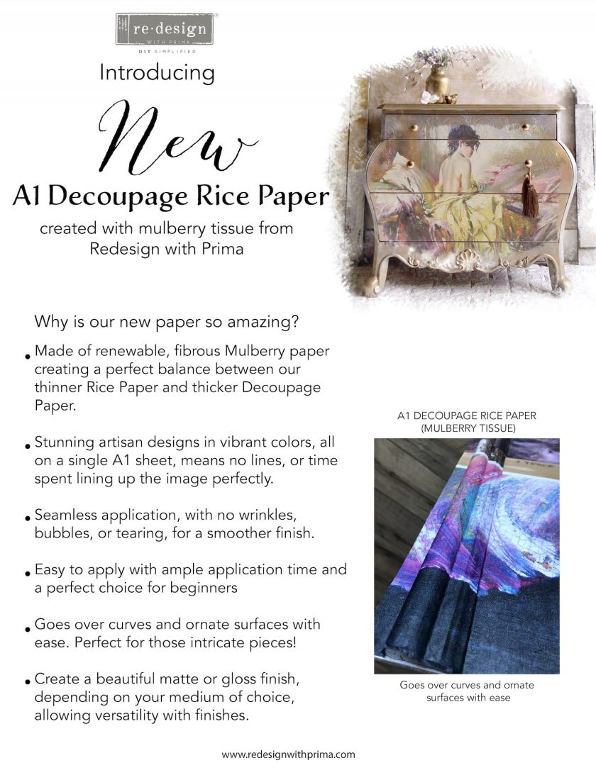 """Redesign A1 Decoupage Rice Paper (Mulberry Tissue Paper) - White Majesty 23.4""""X33.1"""""""