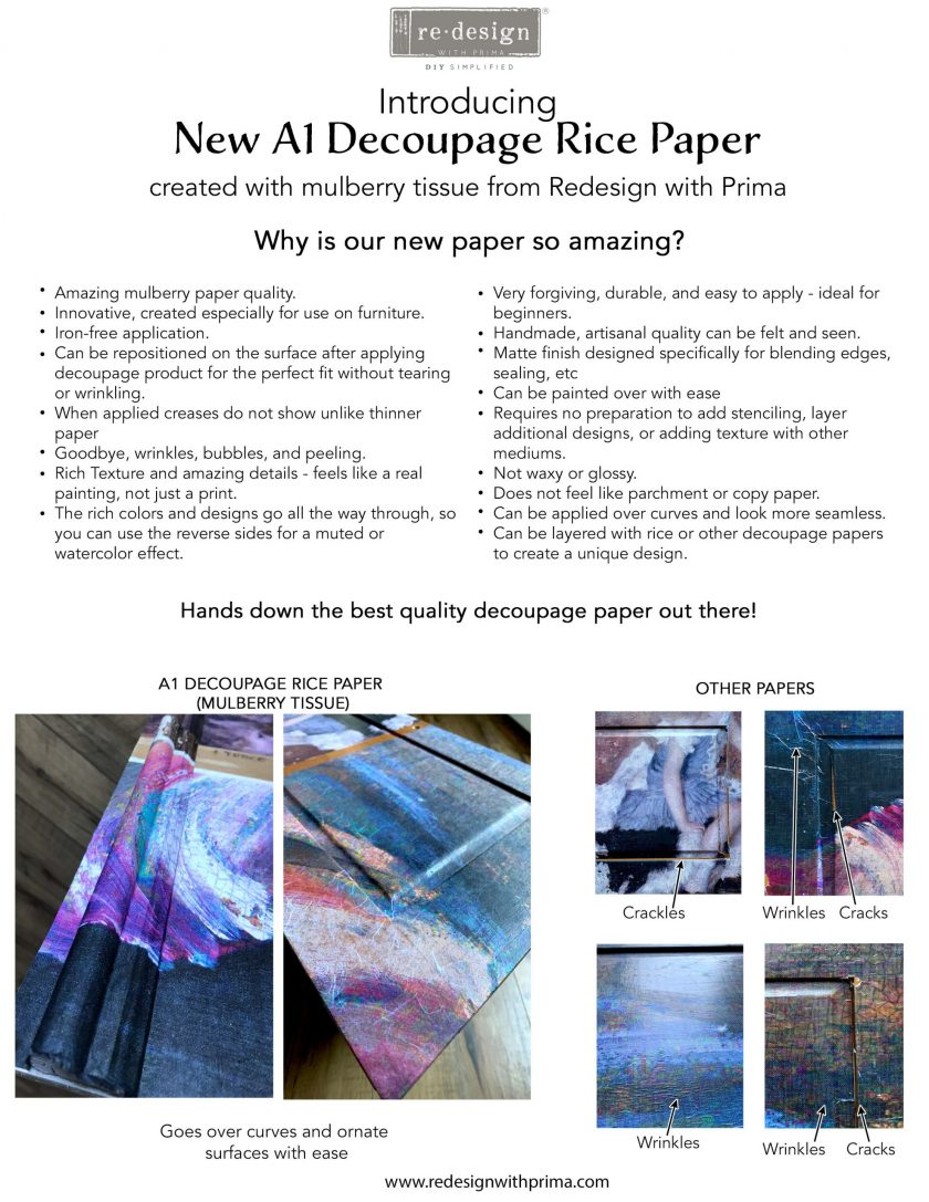 """Redesign A1 Decoupage Rice Paper (Mulberry Tissue Paper) - Peaceful 23.4""""X33.1"""""""