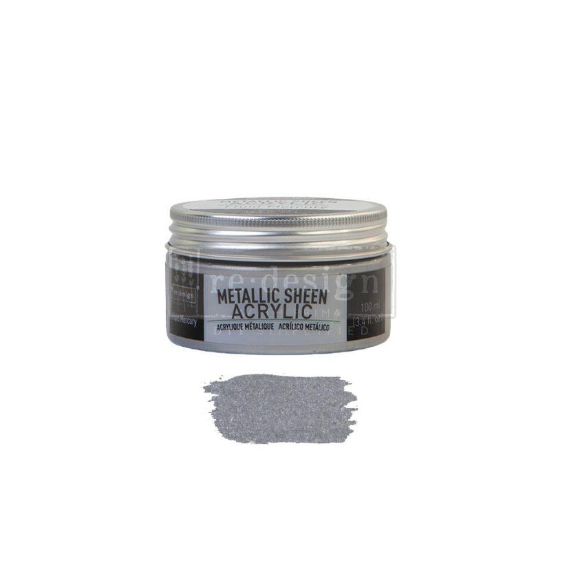 Redesign Acrylic Paint Metallic Sheen - Fluid Mercury - 1 jar, 100 ml (3.4 fl oz)