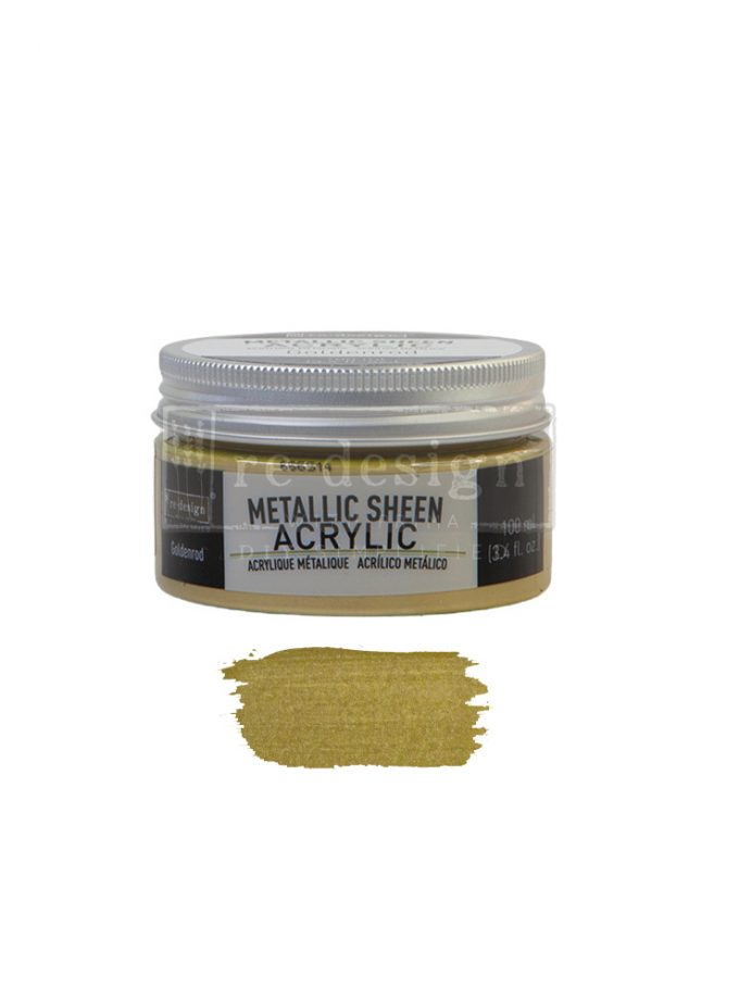 Redesign Acrylic Paint Metallic Sheen - Goldenrod - 1 jar, 100 ml (3.4 fl oz)