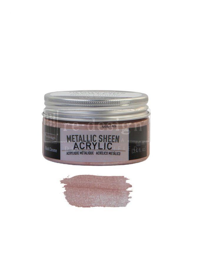 Redesign Acrylic Paint Metallic Sheent - Blush Chrome - 1 jar, 100 ml (3.4 fl oz)