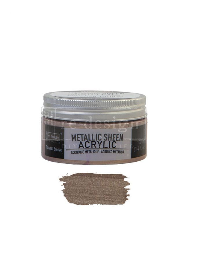 Redesign Acrylic Paint Metallic Sheen - Polished Bronze - 1 jar, 100 ml (3.4 fl oz)