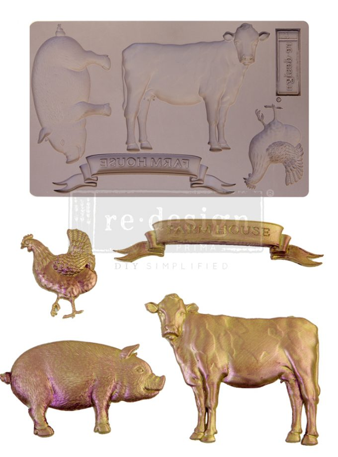 """Redesign Decor Moulds® - Farm Animals - 1 pc, 5""""x8"""", 8mm thickness"""