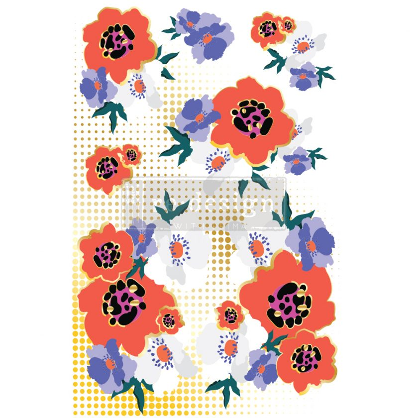 """Redesign Decor Transfers® - CECE Modernist Floral - Total sheet size 24""""x35"""", cut into 2 sheets"""