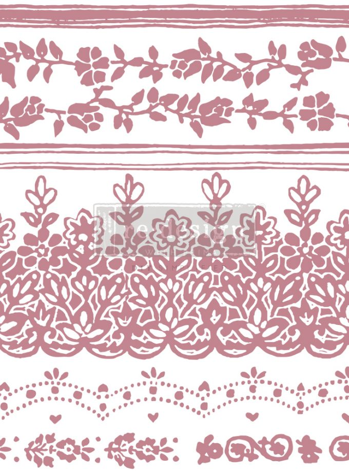 """Redesign Decor Stamp - Floral Borders - 12""""x12"""" (7 pcs)"""