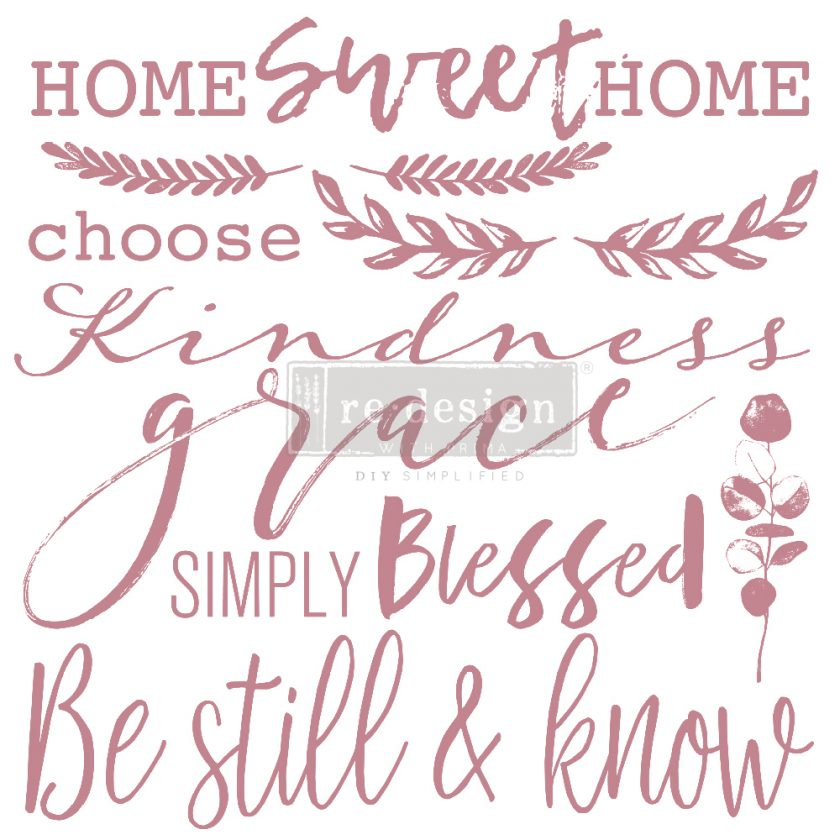 """Redesign Decor Stamp - Inspired Words - 12""""x12"""" (14 pcs)"""