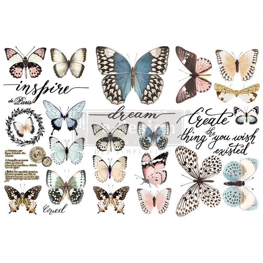 "Redesign Decor Transfers® - Papillon Collection - 3 sheets, 6""x12"""