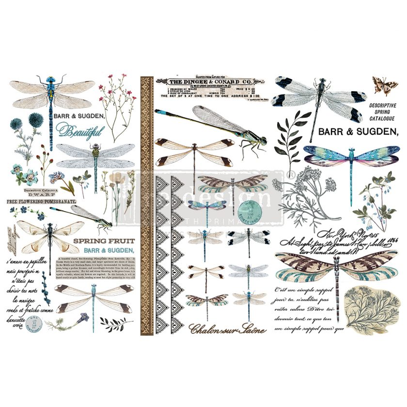 """Redesign Decor Transfers® - Spring Dragonfly - 3 sheets, 6""""x12"""""""
