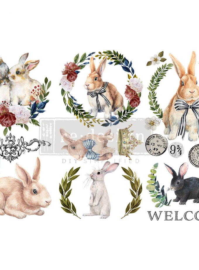 """Redesign Decor Transfers® - Cottontail - 3 sheets, 6""""x12"""""""