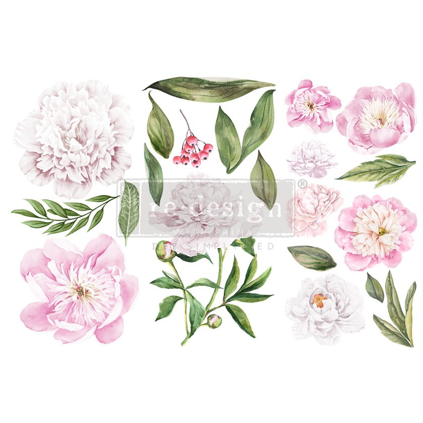 """Redesign Decor Transfers® - Morning Peonies - 3 sheets, 6""""x12"""""""