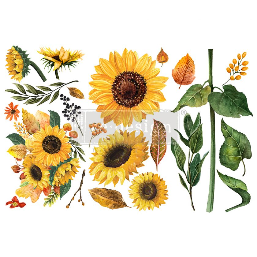 """Redesign Decor Transfers® - Sunflower Afternoon - 3 sheets, 6""""x12"""""""