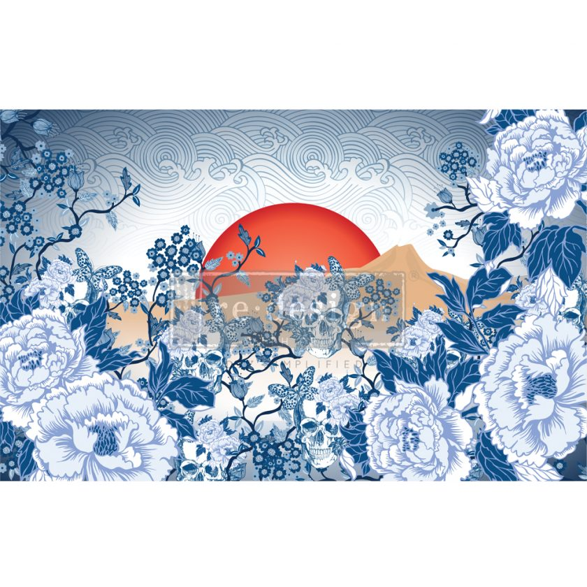 """Redesign Decoupage Décor Tissue Paper - CECE Skull Chinoiserie - 1 sheet, 19""""x30"""""""
