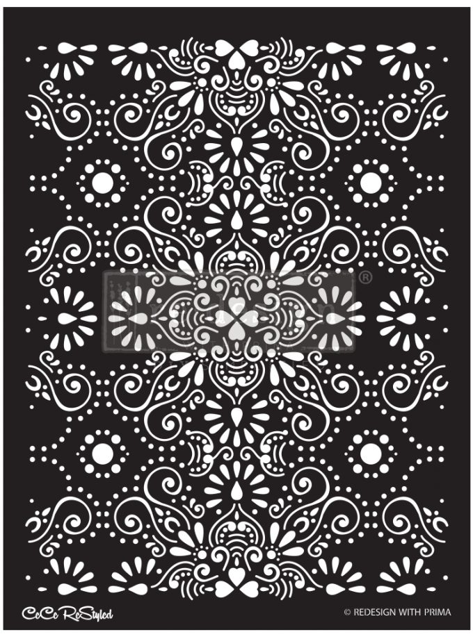 """Redesign Stencil - CECE Eastern Abstract 18x25.5 - sheet size 18""""x25.5"""", design size 16.3""""x21.7"""""""