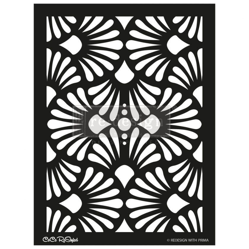 "Redesign Stencil - CECE Modern Deco 18x25.5 - sheet size 18""x25.5"", design size 15.4""x21.4"""