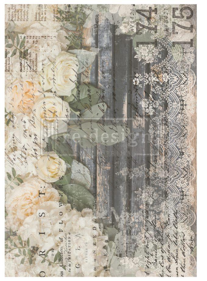Decor Transfers® - White Fleur - Total sheet size 24x35, cut to 3 sheets