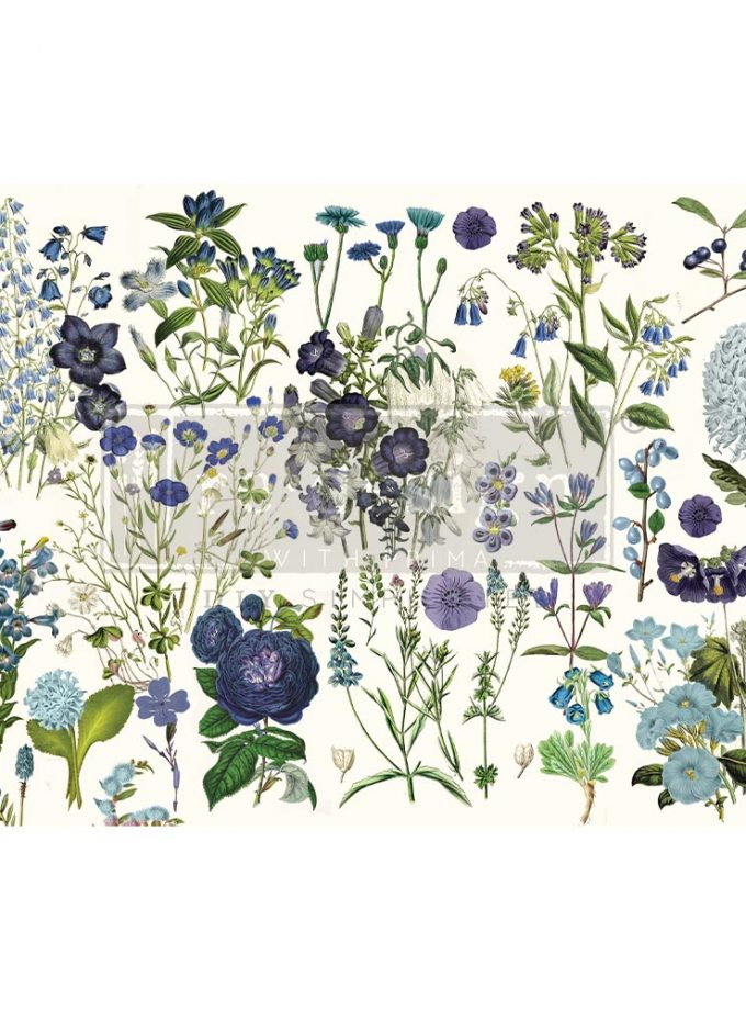 "Decoupage Decor Tissue Paper - Blue Meadows - 1 sheet, 19""x30"""