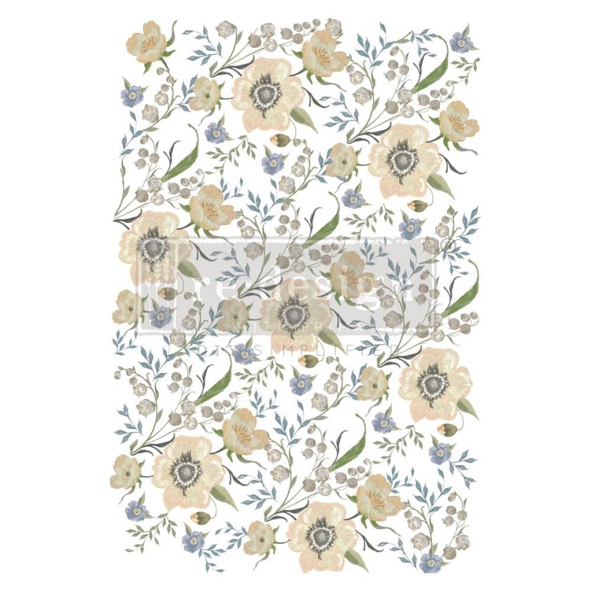 """Decor Transfers® - Goldenrod Florals - total sheet size 24""""x35"""", cut into 3 sheets"""