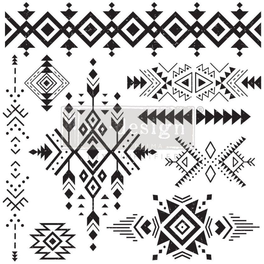 """Decor Stamp - Tribal Prints - 12""""x12"""" sheet size, total 9 pcs"""