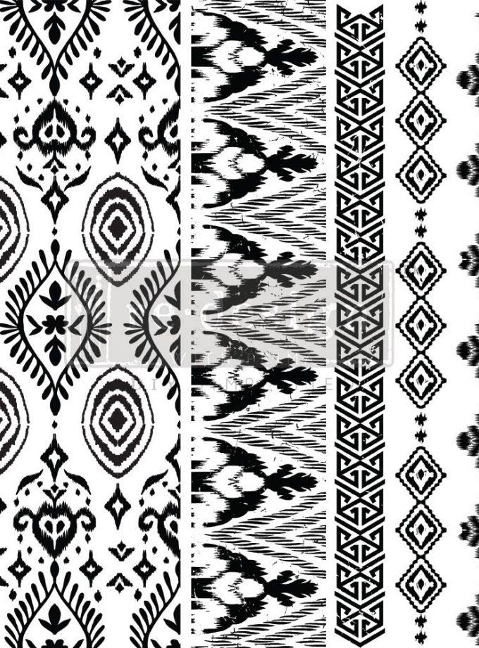 "Decor Stamp - Elemental Borders - 12""x12"" sheet size, total 5 pcs"