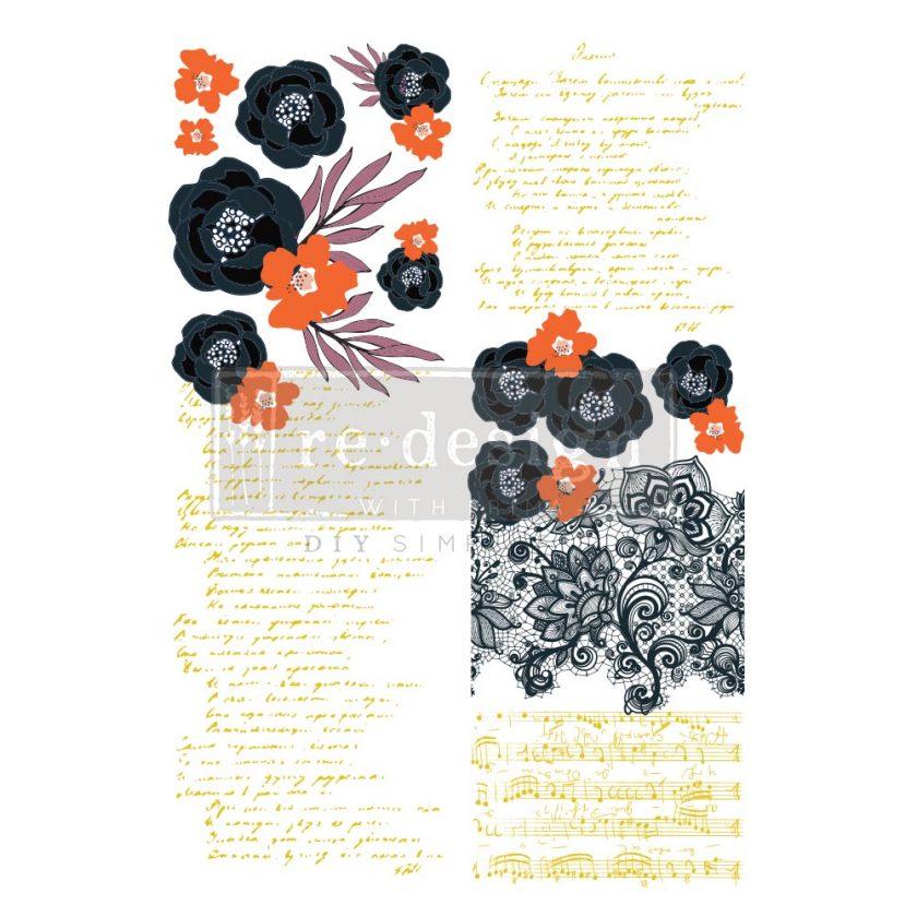 """Decor Transfers® CeCe - Fleur Noir - total sheet size 24""""x35"""", cut into 2 sheets"""